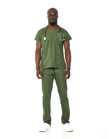 Erkek Terrycotton Asker Yeşili Doktor & Hemşire Takımı