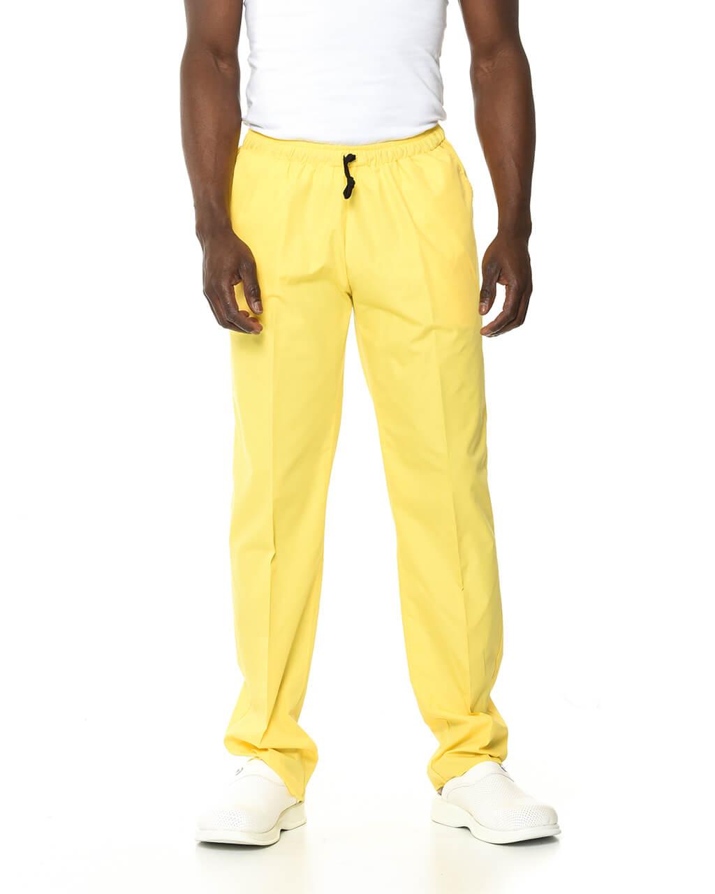%100 Pamuk Likralı Sarı Pantolon