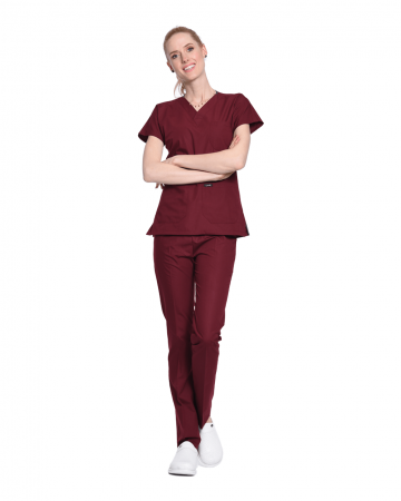 Kadın Terrycotton Bordo Doktor & Hemşire Forması Takımı