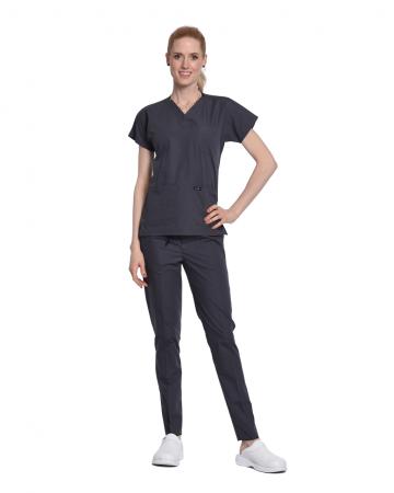 Kadın Terrycotton Gri Doktor & Hemşire Forması Takımı