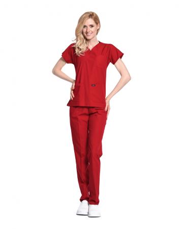 Kadın Terrycotton Kırmızı Doktor & Hemşire Forması Takımı