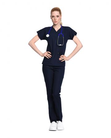 Kadın Terrycotton Lacivert Doktor & Hemşire Forması Takımı
