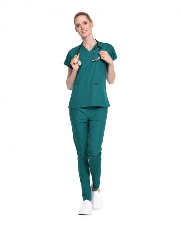 Kadın Terrycotton Petrol Yeşili Doktor & Hemşire Forması Takımı