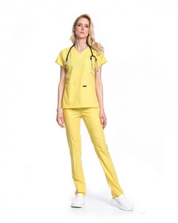 Kadın Terrycotton Sarı Doktor & Hemşire Forması Takımı