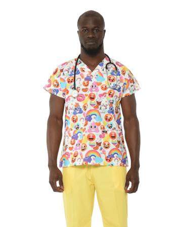 Erkek Emoji Desenli Beyaz Doktor & Hemşire Forması