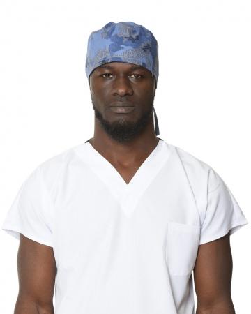 Erkek Yazı Desenli Mavi Cerrahi Bone
