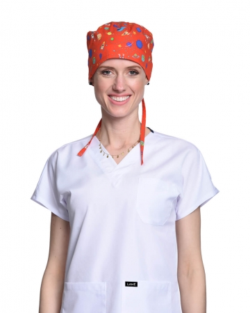 Kadın Uzay Desenli Kırmızı Cerrahi Bone