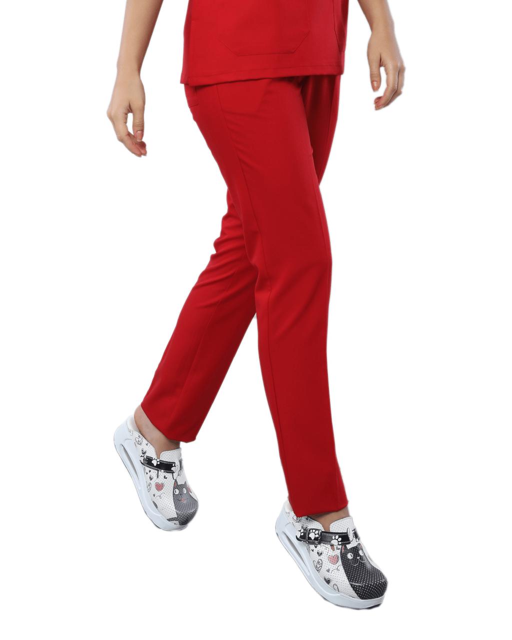 Likralı Kırmızı Pantolon
