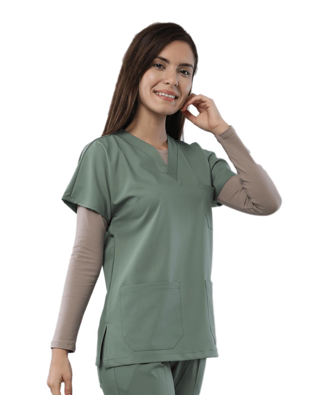 Mint Yeşili Relax Likralı Doktor & Hemşire Forma Üstü