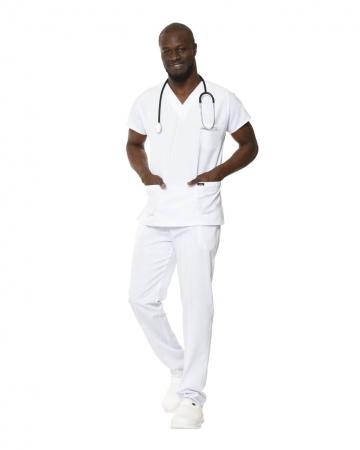 V Yaka Yarasa Kol Likralı Beyaz Relax Doktor ve Hemşire Forma Takımı