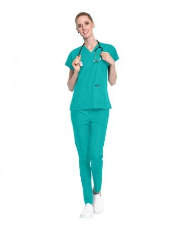 Terrycotton Turkuaz Doktor ve Hemşire Forması Takımı
