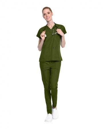 100% Pamuklu Likralı Asker Yeşili Doktor ve Hemşire Forması Takımı