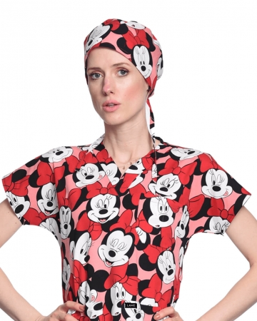 Minnie Mouse Desenli Kırmızı Cerrahi Bone