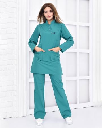 Tesettür Doktor Hemşire Forması Petrol Yeşili Takım Terrycotton Kumaş