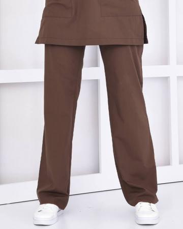 Tesettür Kahverengi Pantolon Terrycotton Tesettür Hemşire Forması