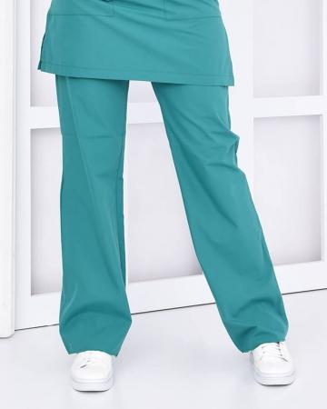 Tesettür Petrol Yeşili Pantolon Terrycotton Tesettür Hemşire Forması