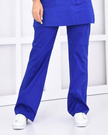 Tesettür Saks Mavisi Pantolon 100% Pamuk Likralı Tesettür Hemşire Forması
