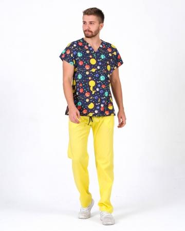 Likralı Uzay Desenli Forma Üstü ve Sarı Pantolon Takım