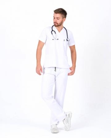 Beyaz Relax Likralı Takma Kol Doktor ve Hemşire Forması Takımı