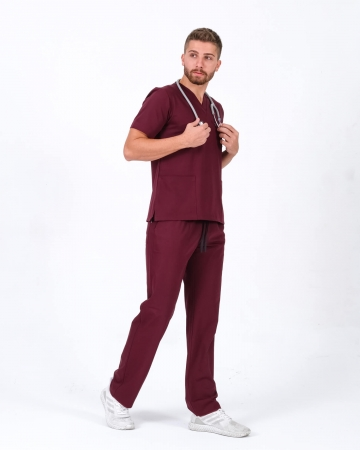 Bordo Relax Likralı Takma Kol Doktor ve Hemşire Forması Takımı