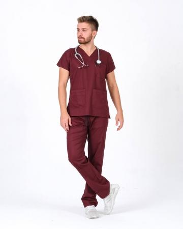 %100 Pamuk Likralı Bordo Doktor ve Hemşire Forması Takımı