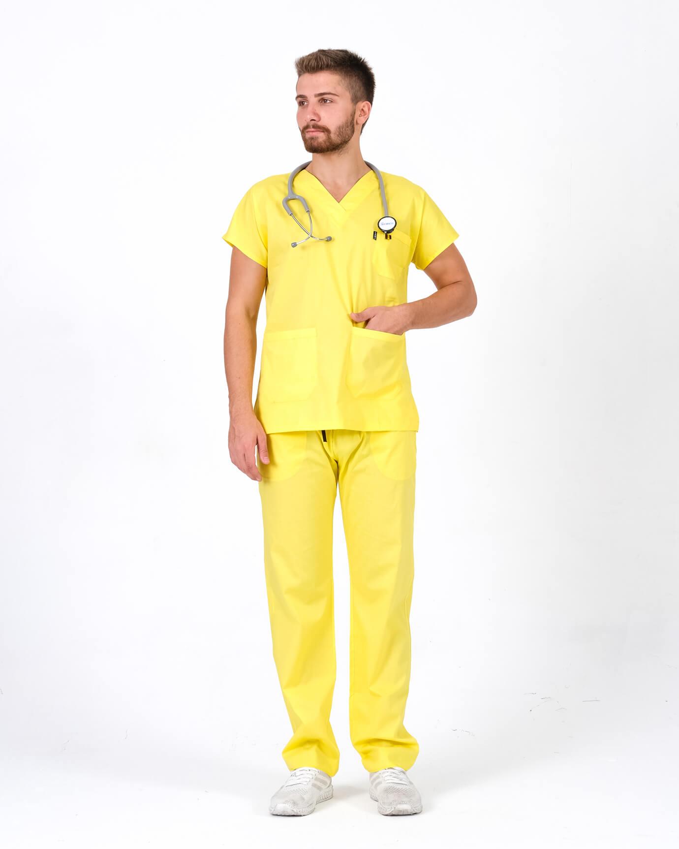 %100 Pamuk Likralı Sarı Takım