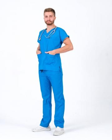 Erkek Terrycotton Çivit Mavisi Doktor ve Hemşire Forması Takımı