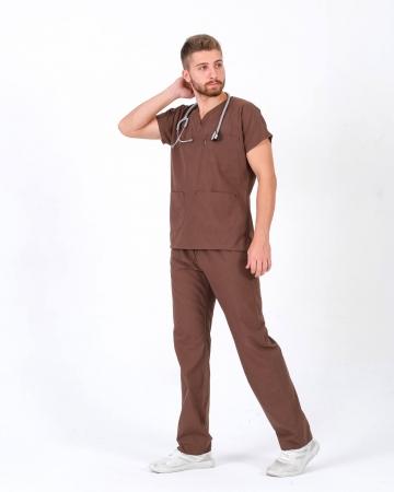 Terrycotton Kahverengi Doktor ve Hemşire Forması Takımı