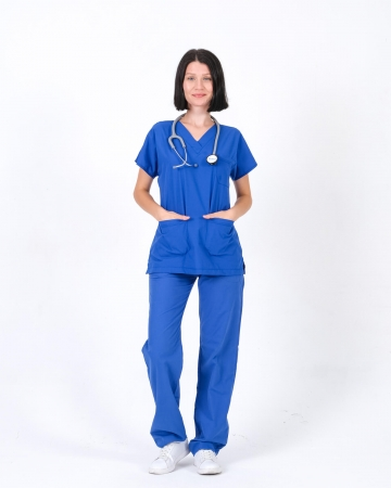Terrycotton Saks Mavisi Doktor ve Hemşire Forması Takımı