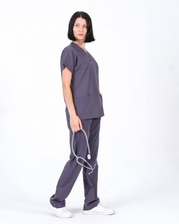 Terrycotton Cerrahi Yaka Gri Doktor ve Hemşire Takımı