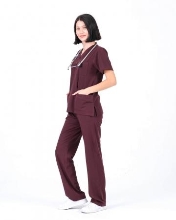 Koyu Bordo Relax Likralı Takma Kol Doktor ve Hemşire Forması Takımı