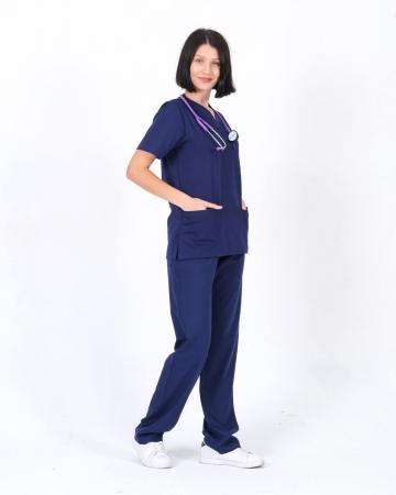 Lacivert Relax Likralı Takma Kol Doktor ve Hemşire Forması Takımı