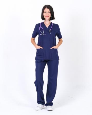 Kadın Lacivert Relax Likralı Takma Kol Doktor ve Hemşire Forması Takımı