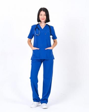 Saks Mavisi Relax Likralı Takma Kol Doktor ve Hemşire Forması Takımı