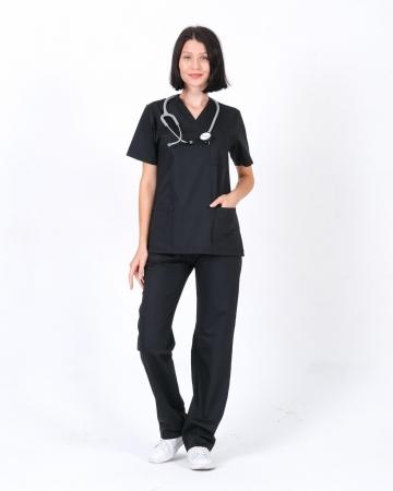 Kadın Siyah Relax Likralı Takma Kol Doktor ve Hemşire Forması Takımı