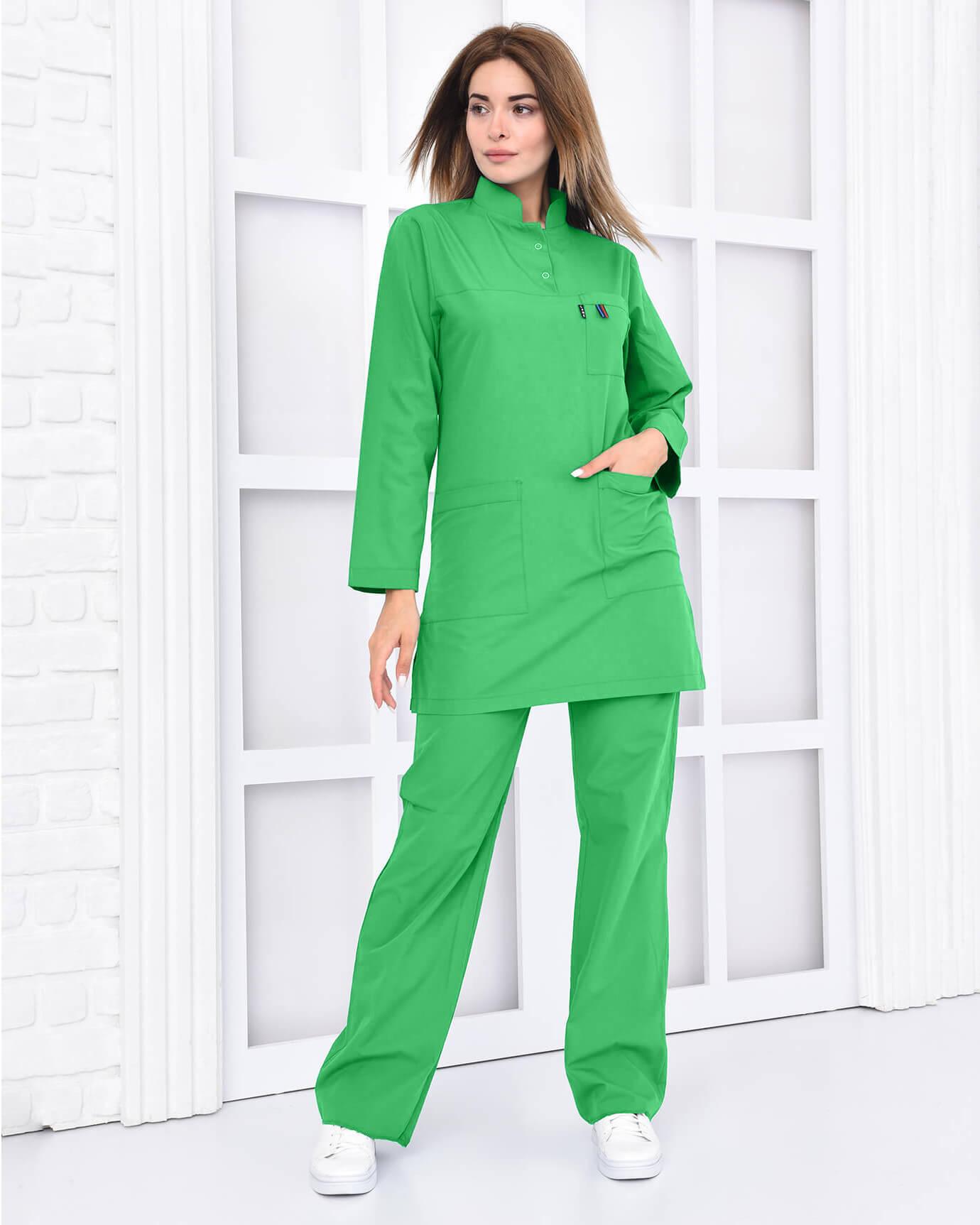 Tesettür Benetton Yeşili Takım %100 Pamuk Likralı