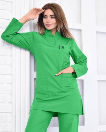 Tesettür Doktor Hemşire Forması Benetton Yeşili Takım 100% Pamuk Kumaş ve Likralı