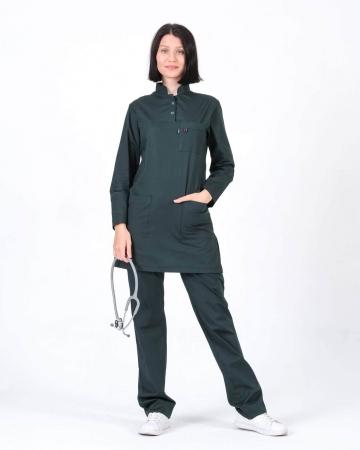 Tesettür Doktor Hemşire Forması Haki Takım 100% Pamuk Kumaş ve Likralı