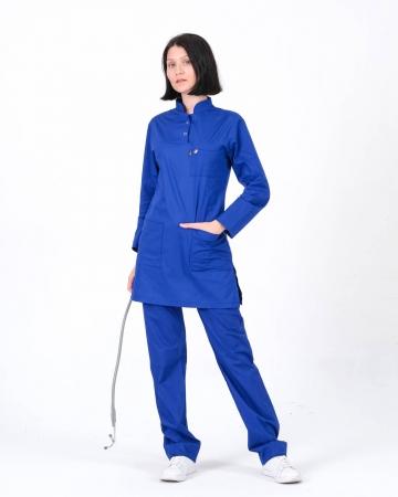 Tesettür Doktor Hemşire Forması Saks Mavisi Takım 100% Pamuk Kumaş ve Likralı