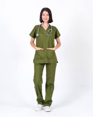 %100 Pamuk Likralı Asker Yeşili Doktor ve Hemşire Forması Takımı