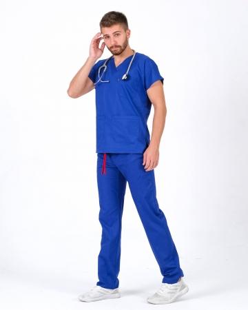 %100 Pamuk Likralı Saks Mavisi Doktor ve Hemşire Forması Takımı