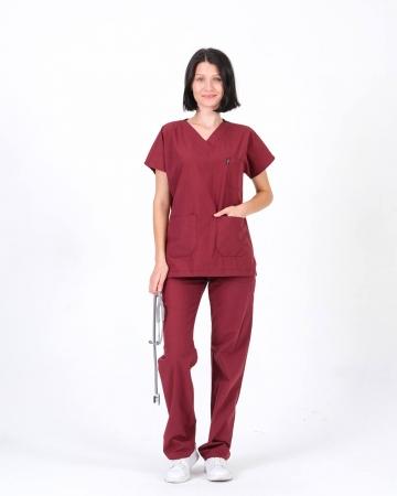 Terrycotton Bordo Doktor ve Hemşire Takımı
