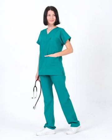 Terrycotton Koyu Petrol Yeşili Doktor ve Hemşire Forması Takımı