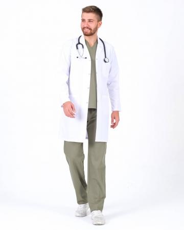 Klasik Yaka Uzun Boy Erkek Doktor Önlüğü