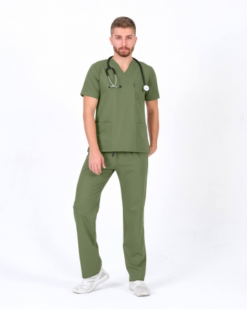 Mint Yeşili Relax Likralı Takma Kol Doktor ve Hemşire Forması Takımı