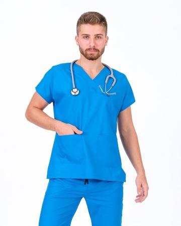 V Yaka Yarasa Kol Çivit Mavisi Terrycotton Erkek Doktor ve Hemşire Forması Üstü
