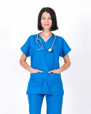 V Yaka Yarasa Kol Çivit Mavisi Terrycotton Kadın Doktor ve Hemşire Forması Üstü