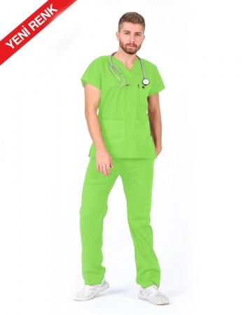 Erkek %100 Pamuk Likralı Fıstık Yeşili Doktor ve Hemşire Forması Takımı