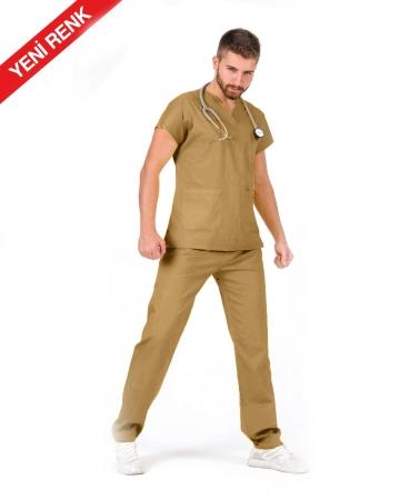 Erkek %100 Pamuk Likralı Kahverengi Doktor ve Hemşire Forması Takımı