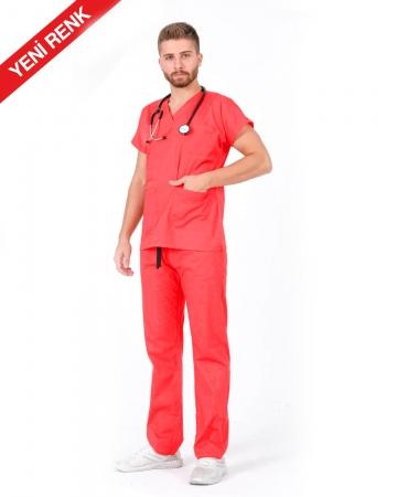 Erkek %100 Pamuk Likralı Somon Doktor ve Hemşire Forması Takımı